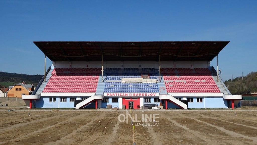 Bardejovský futbalový štadión (apríl 2016)