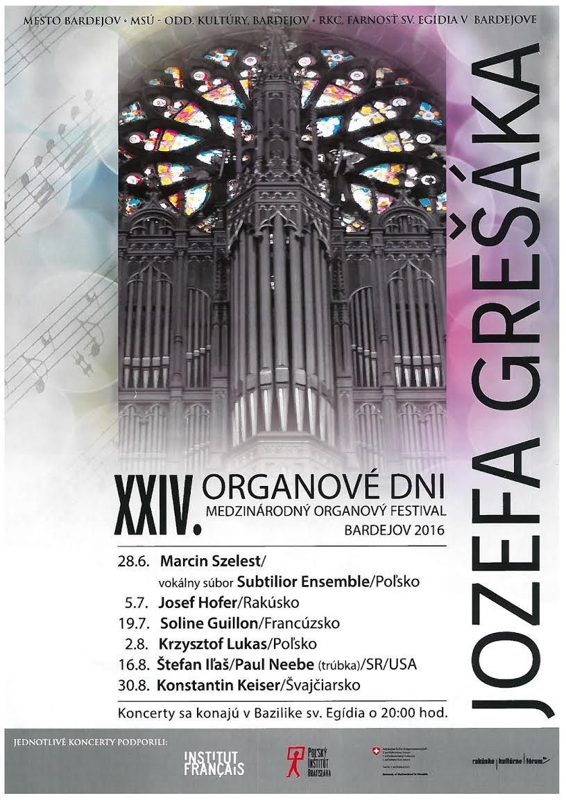 Organové dni Jozefa Grešáka 2016