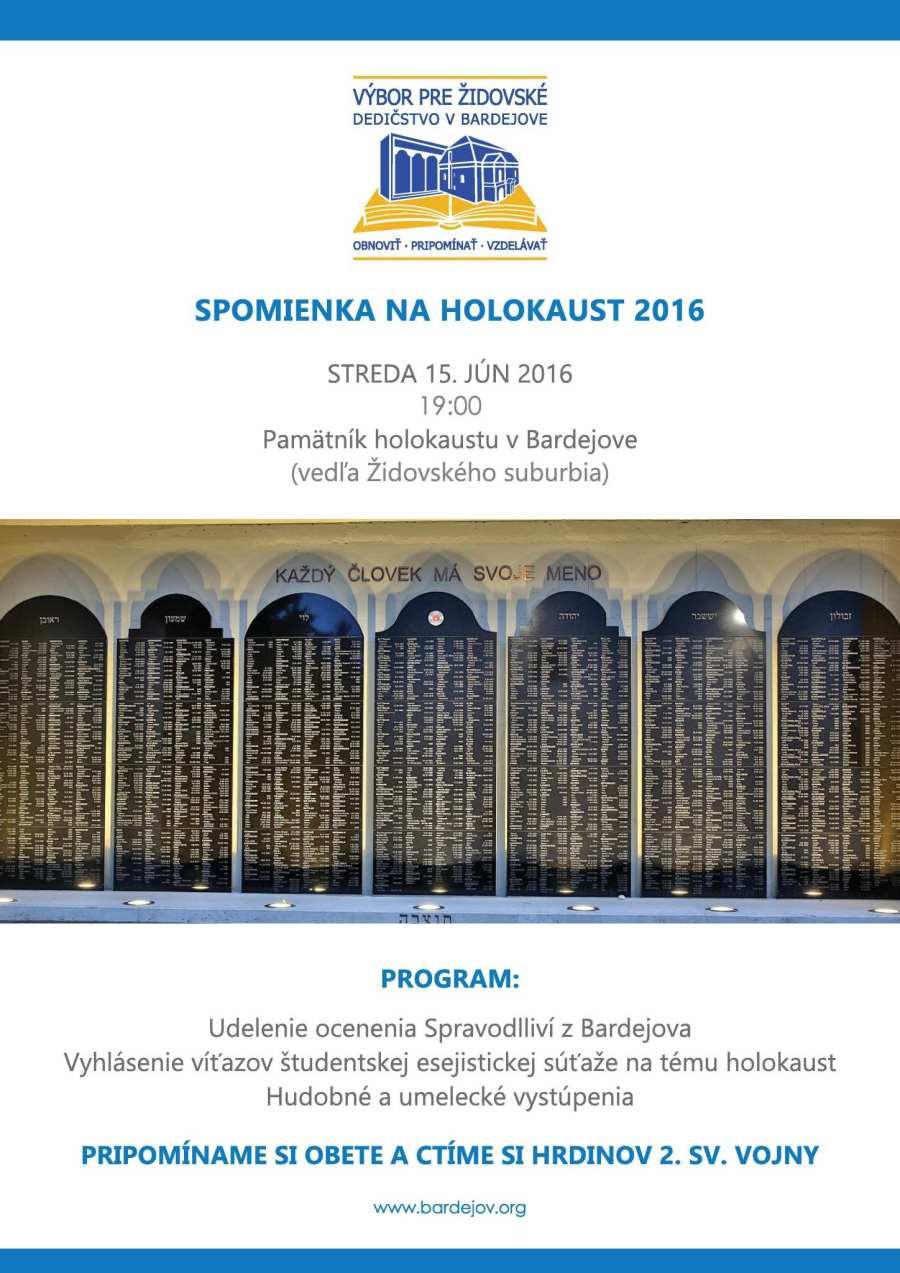Spomienka na holokaust 2016