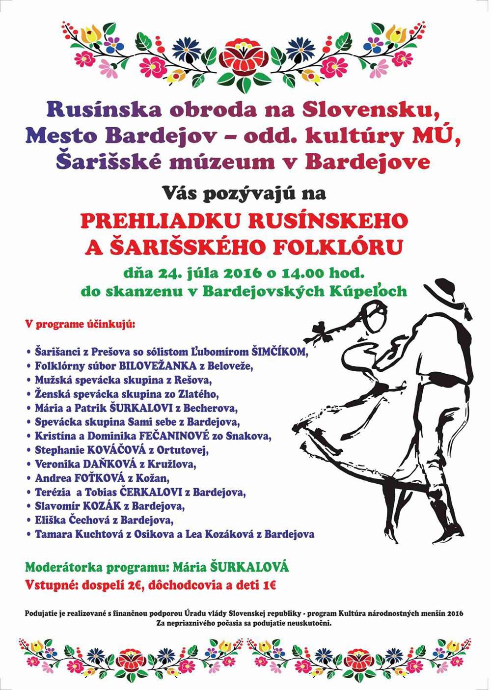 Prehliadka rusínskeho a šarišského folklóru