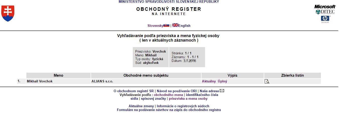 Obchodný register SR - ALIANS s. r. o.