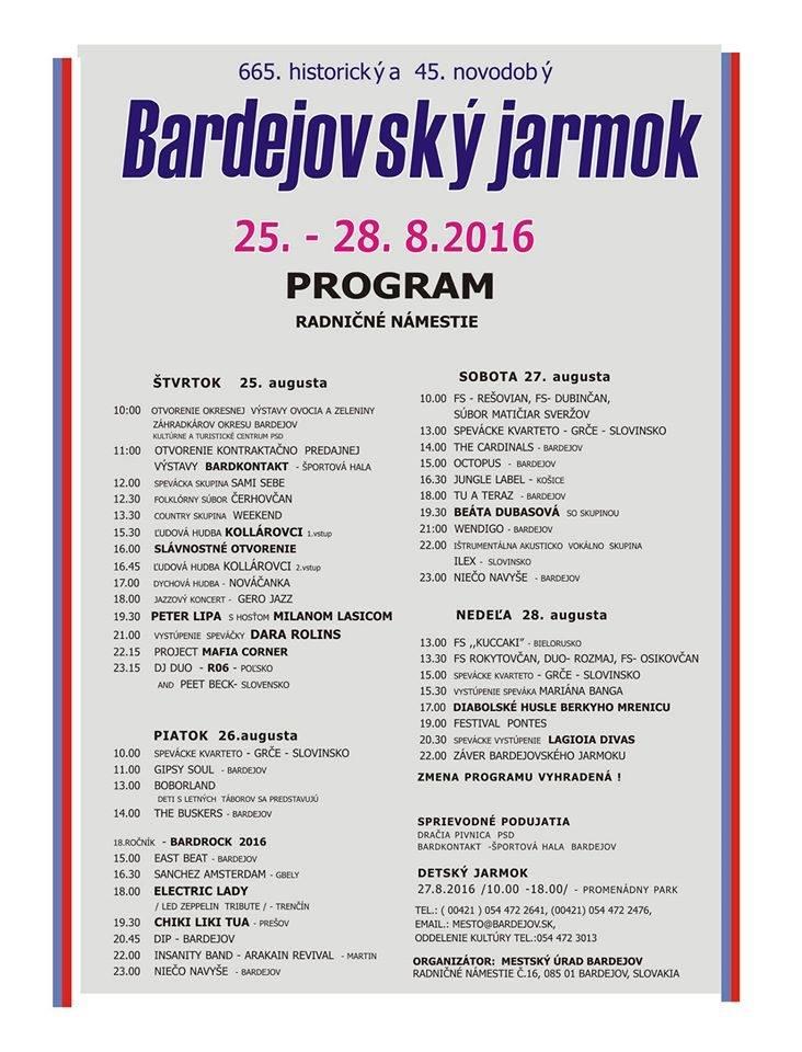 KOMPLETNÝ PROGRAM: Bardejovský jarmok 2016