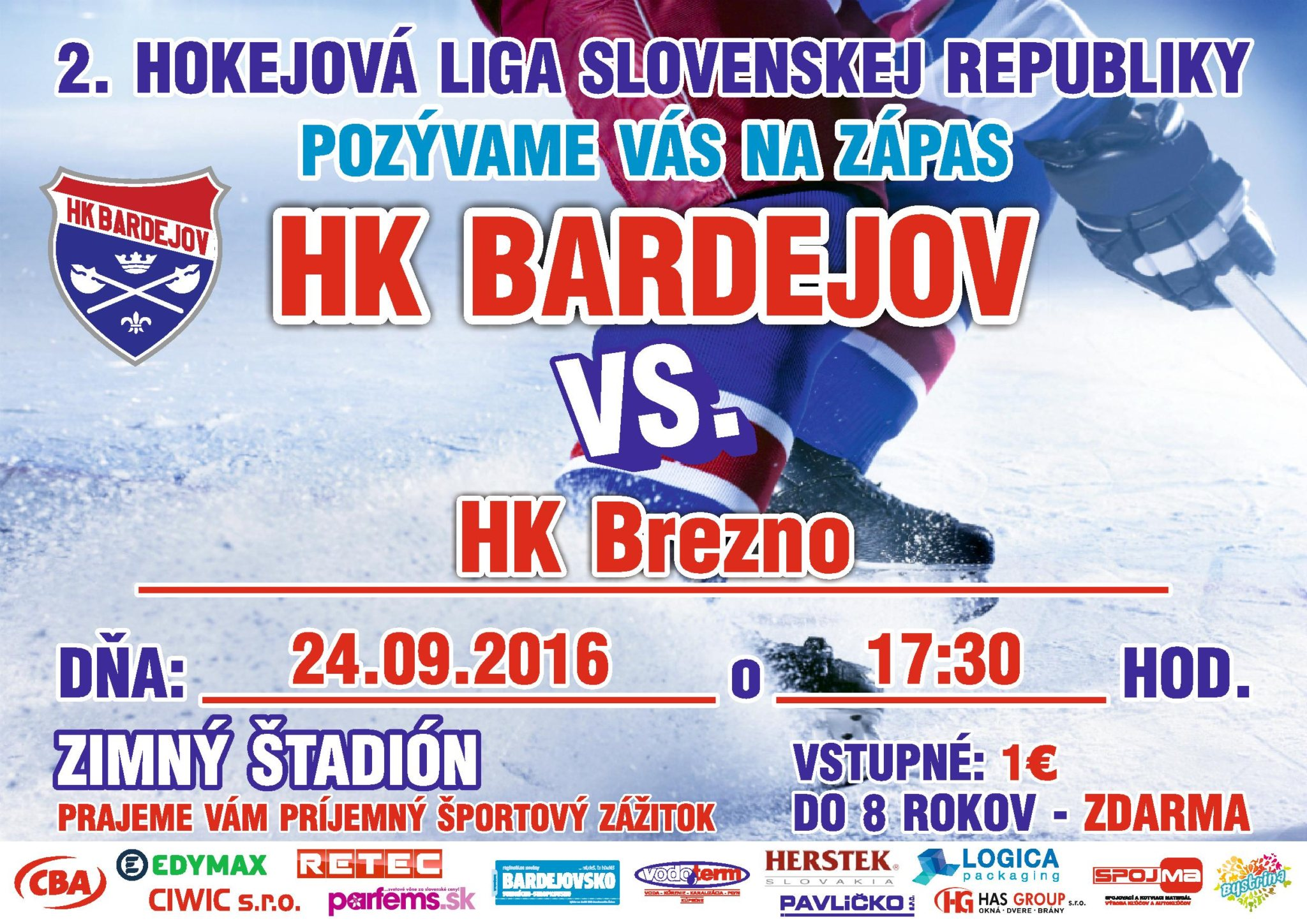 POZVÁNKA: HK Bardejov – Brezno, 2. kolo II. ligy