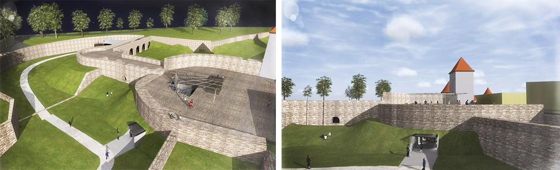 Budúca podoba prechodu cez hradobné opevnenie.