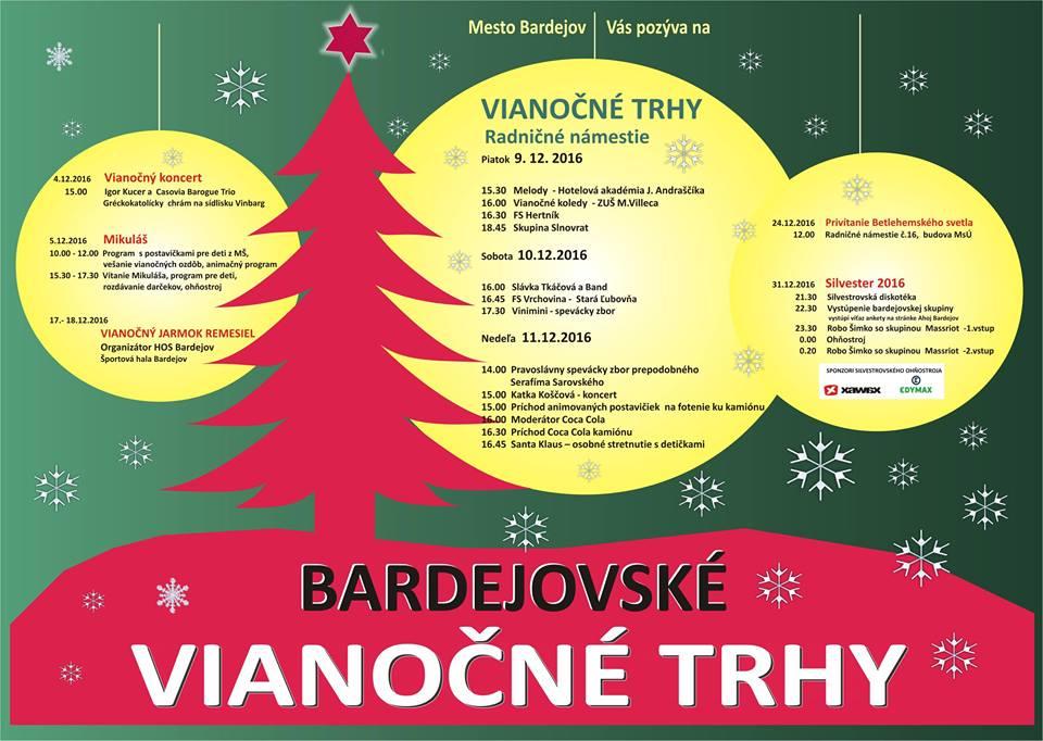 """Podrobný program """"vianočných trhov"""" v Bardejove"""