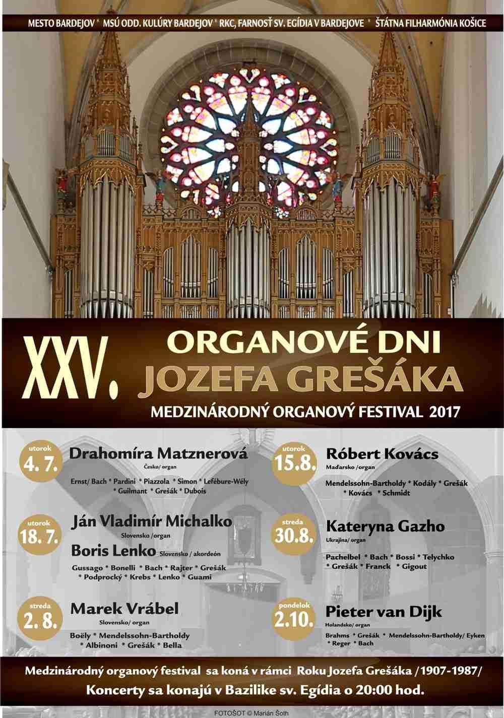 Jubilejný 25. ročník organových dní Jozefa Grešáka