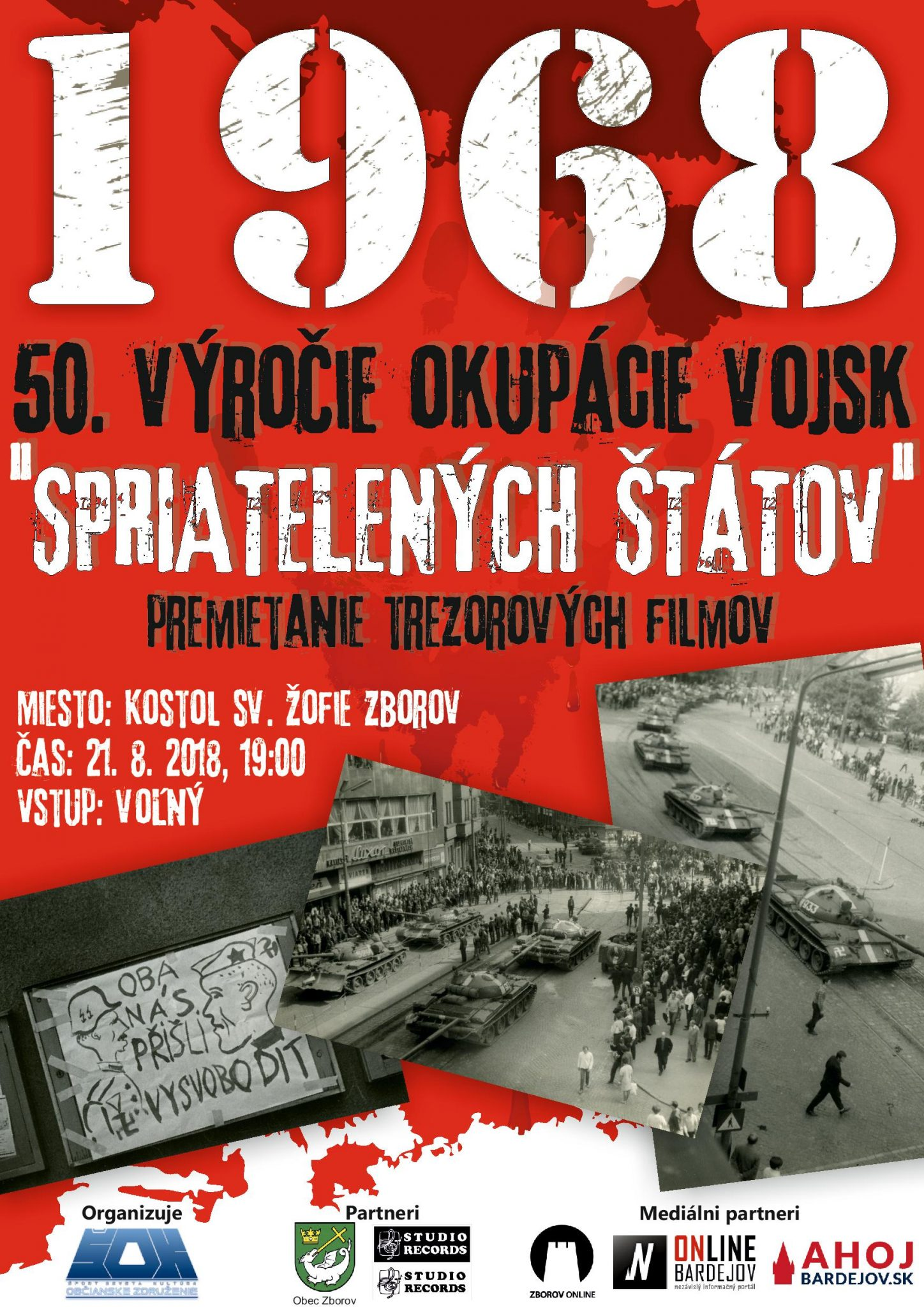 50. výročie okupácie – premietanie trezorových filmov