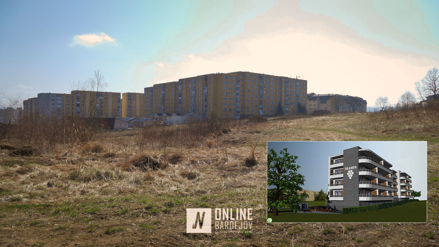 Pohľad na lokalitu na Vinbargu pred výstavbou nového bytového domu