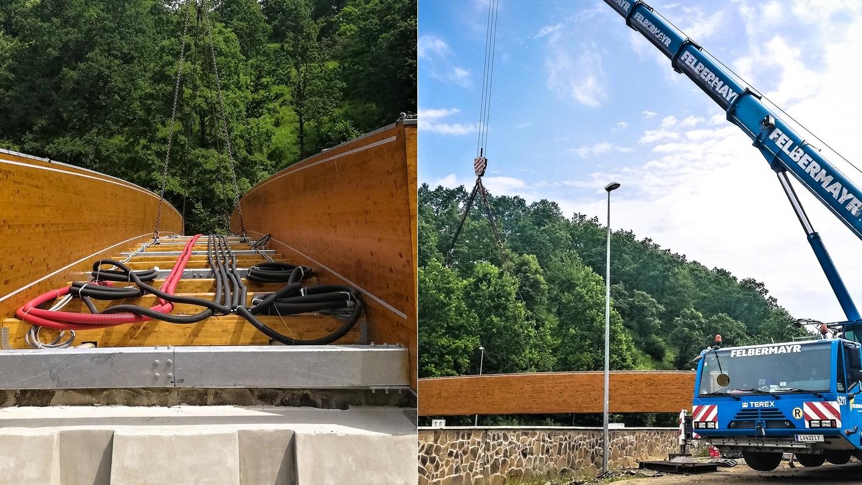 OBRAZOM: Konštrukcia novej lávky už pretína brehy rieky Topľa!