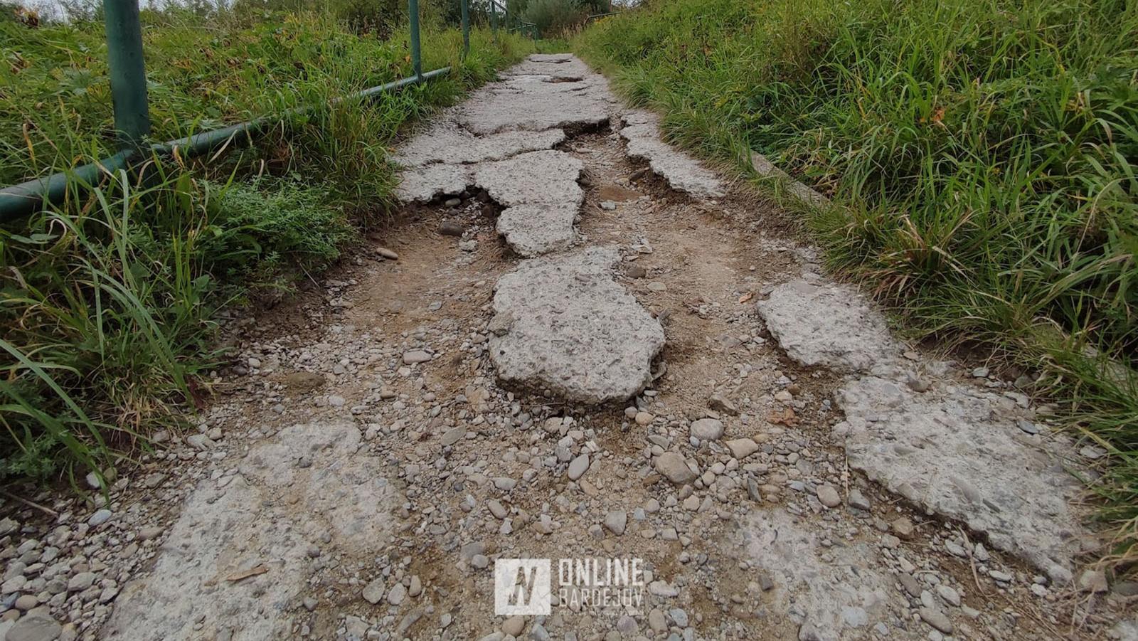 Časť chodníka na Dubovke spájajúci Vinbarg s ostatnou častou mesta je v dezolátnom stave